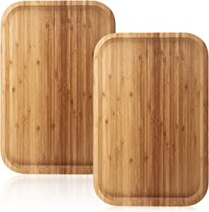 Yarlung 2 Pack 14 Inch Bamboo Tray Cheese Plate, Food Serving Saucer Wood Rectangular Platter for Coffee, Tea, Fruit, Plant Pot