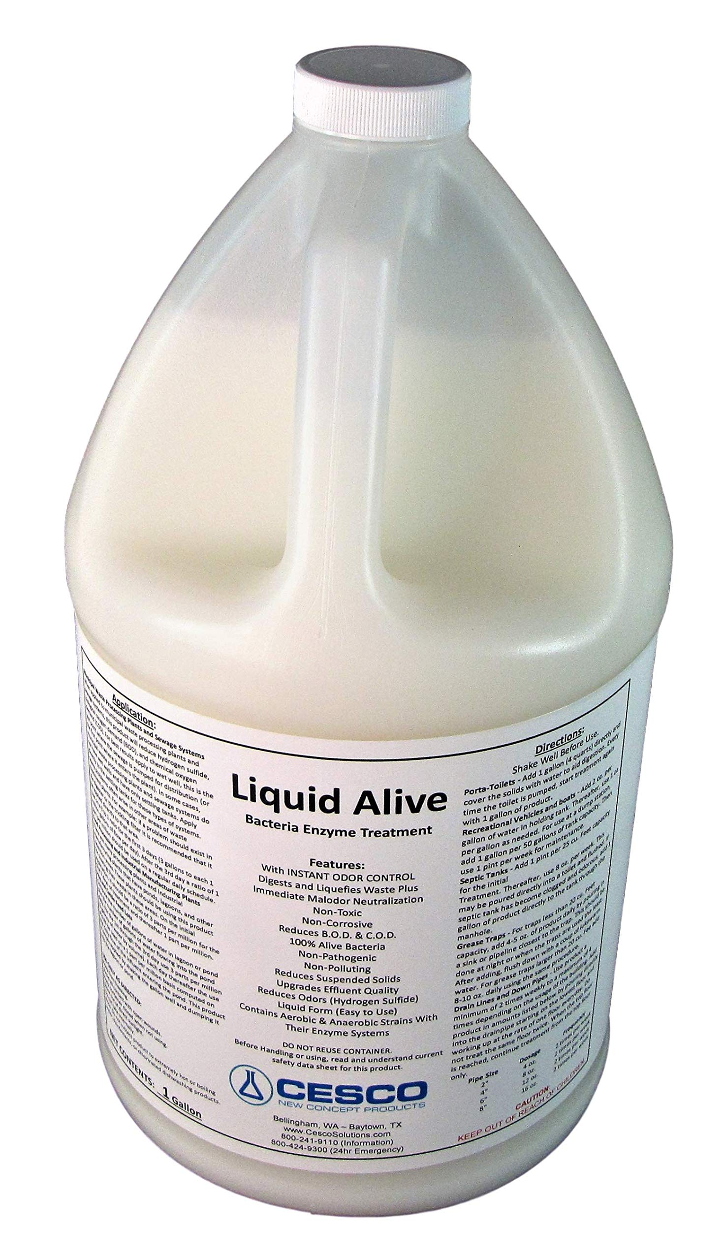 Liquid Alive Bacteria Enzyme Treatment - for Septic RV Boat - Odor Digester - 1 Gallon