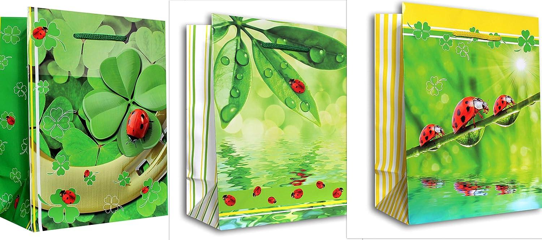 3 St/ück Geschenktaschen DIN A5 Geschenkbeutel 18x23x10 cm Kleeblatt Gl/ück Marienk/äfer Geschenkt/üten Glanz-Papier 160g//m2 Geschenkverpackung Set 44