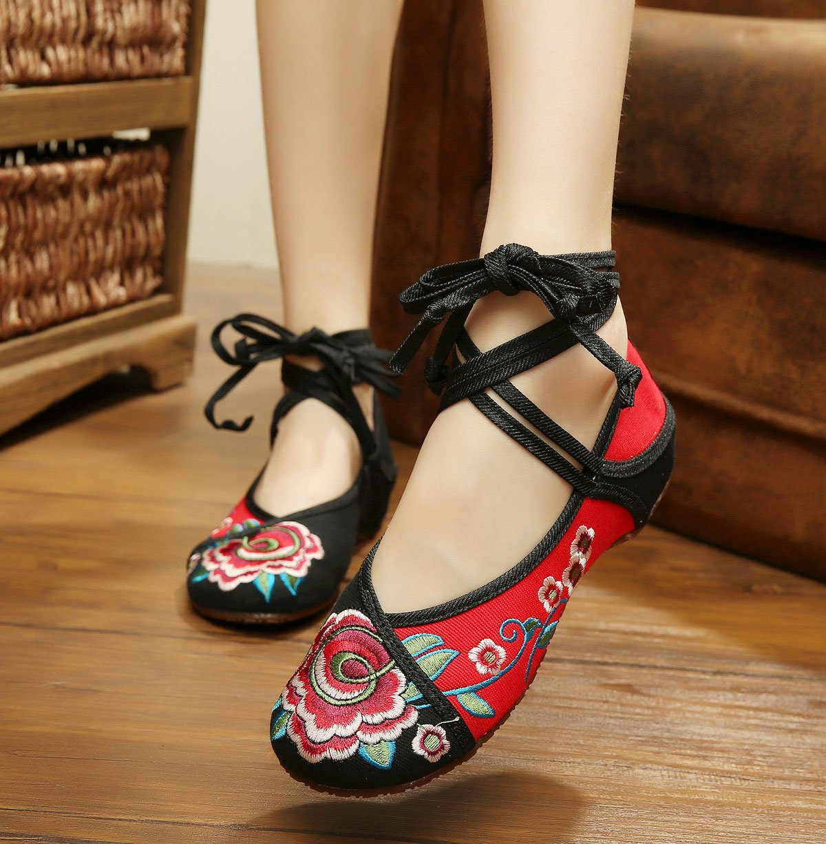 AvaCostume Women's Chinese Embroidery Strappy Multicolor Platform Dress Shoes Black 42 by AvaCostume (Image #1)