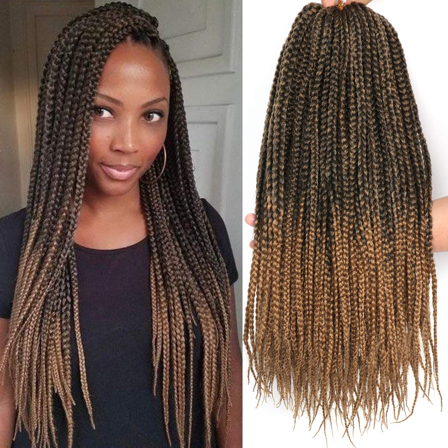 7 Packs 18 Inches Medium Box Braids Crochet Braids Hair 20 Strands Pack Synthetic Braiding Hair Extensions 18 Inch 1b 27