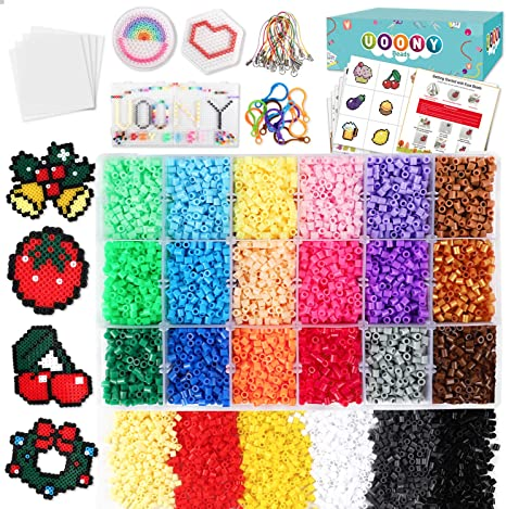Amazon.com: UOONY Fuse Beads Craft Kit, 14000pcs 24 Colors 5mm Fuse Beads  with Storage Box, 4 pegboards, 110 Patterns Melty Fusion Colored Beads Set  for Home Class Activity: Home & KitchenAmazon.com