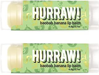 product image for Hurraw! Baobab Banana Lip Balm, 2 Pack: Organic, Certified Vegan, Cruelty and Gluten Free. Non-GMO, 100% Natural Ingredients. Bee, Shea, Soy and Palm Free. Made in USA