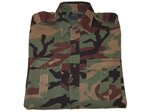 1990c8c6c RALPH LAUREN Polo Mens Camouflage Button-Down Cotton Utility Shirt (Medium)