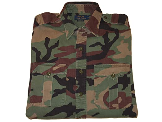 16013628 RALPH LAUREN Polo Mens Camouflage Button-Down Cotton Utility Shirt (Medium)