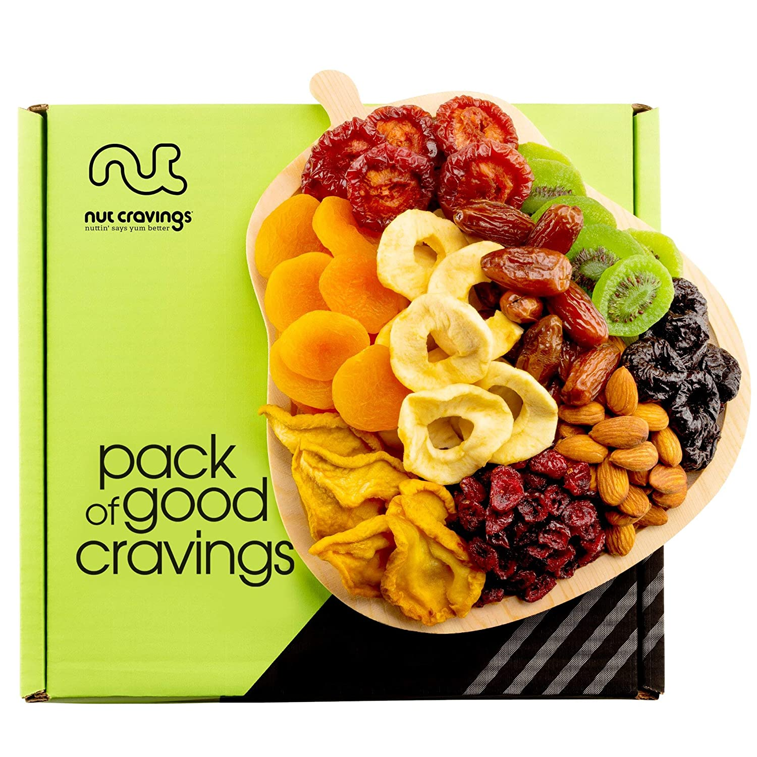 Dried Fruit & Nut Gift Basket, Pear Shaped Wood Tray (9 Mix) - Easter Food Arrangement Platter, Care Package Variety, Prime Birthday Assortment, Healthy Kosher Snack Box for Women, Men, Adults