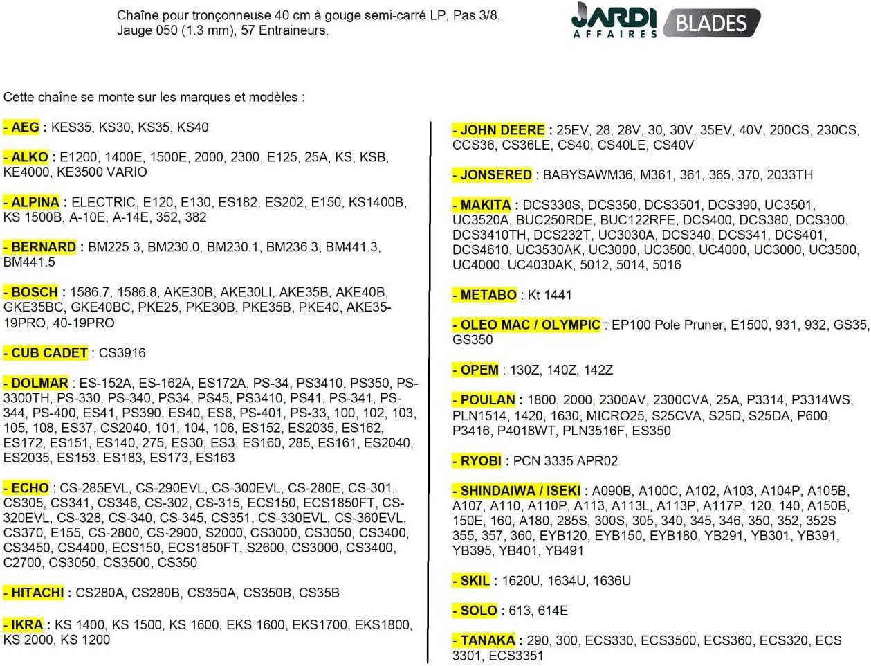 """30cm 2 x chaîne de tronçonneuse pour dolmar PS-340 PS-341 PS-344 PS-400 PS-401 12 /"""""""
