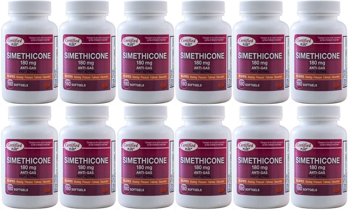 Simethicone 180 mg 2160 Softgels Anti-Gas Generic for Phazyme Ultra Strength Fast Relief of Stomach Gas and Bloating 180 Gelcaps per Bottle Pack of 12 Total 2160 Gelcaps