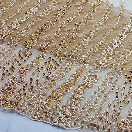 Wedding Dress Fabric.Lace Fabrics Gray Beige Pink Ivory Super Heavy Handmde Beaded Bridal Fabric 51 Width Wedding Dress By Yard Beige