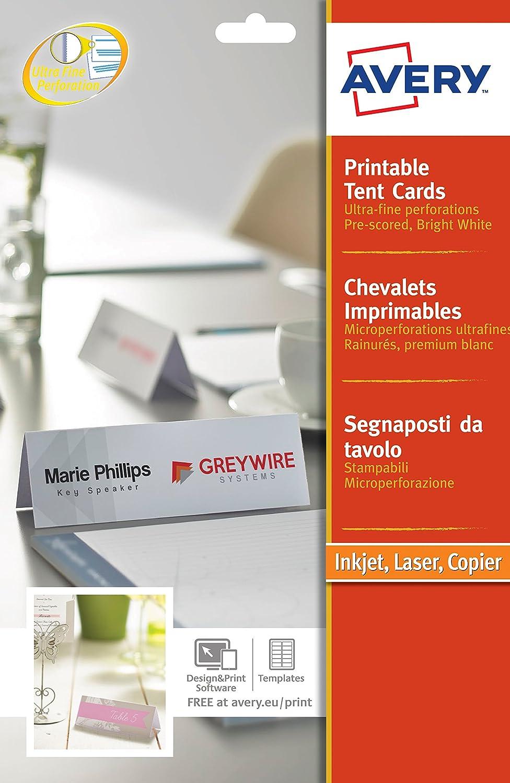 20/ 20//étiquettes Avery imprimable Tente de Business Card 1/par feuille 210/x 60/mm Blanc 190/g//m/² Ref L4796