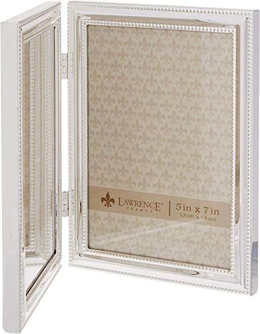 4 by 6-Inch Lawrence Frames Metal Picture Frame Silver-Plate with Delicate Beading