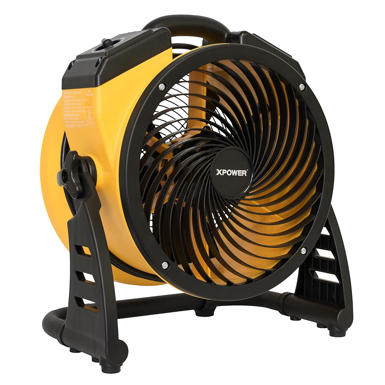 "XPOWER FC-100 Pro Air Circulator, Carpet Dryer, Floor Fan, Blower - 11"" Diameter Multipurpose Heavy-Duty Portable Shop, Office, Classroom, Home Fan- Yellow"