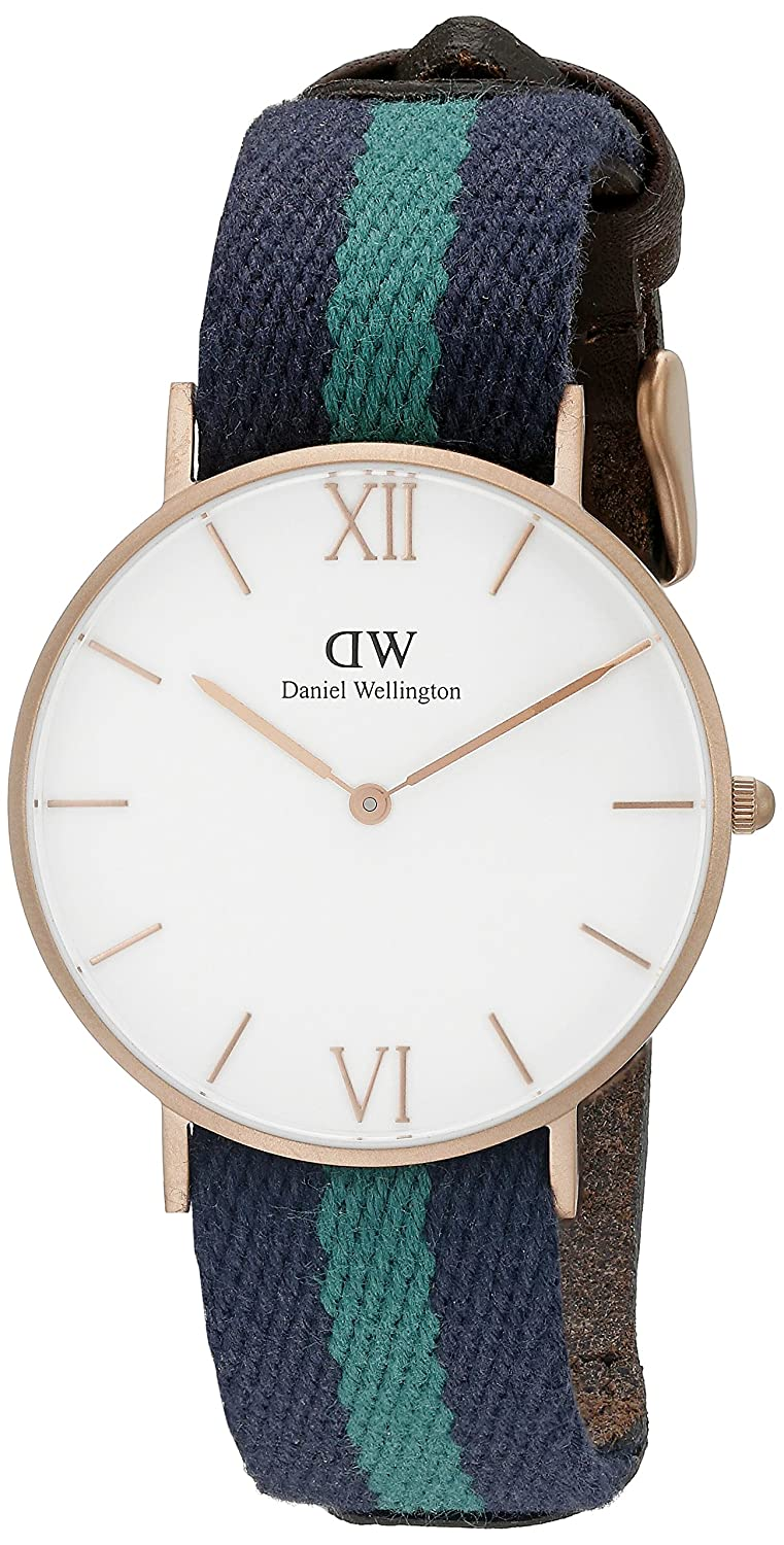 c3686a49c93a Amazon.com  Daniel Wellington Unisex 0553DW Grace Warwick Rose Gold-Tone  Stainless Steel Watch with Striped Nylon Band  Daniel Wellington  Watches