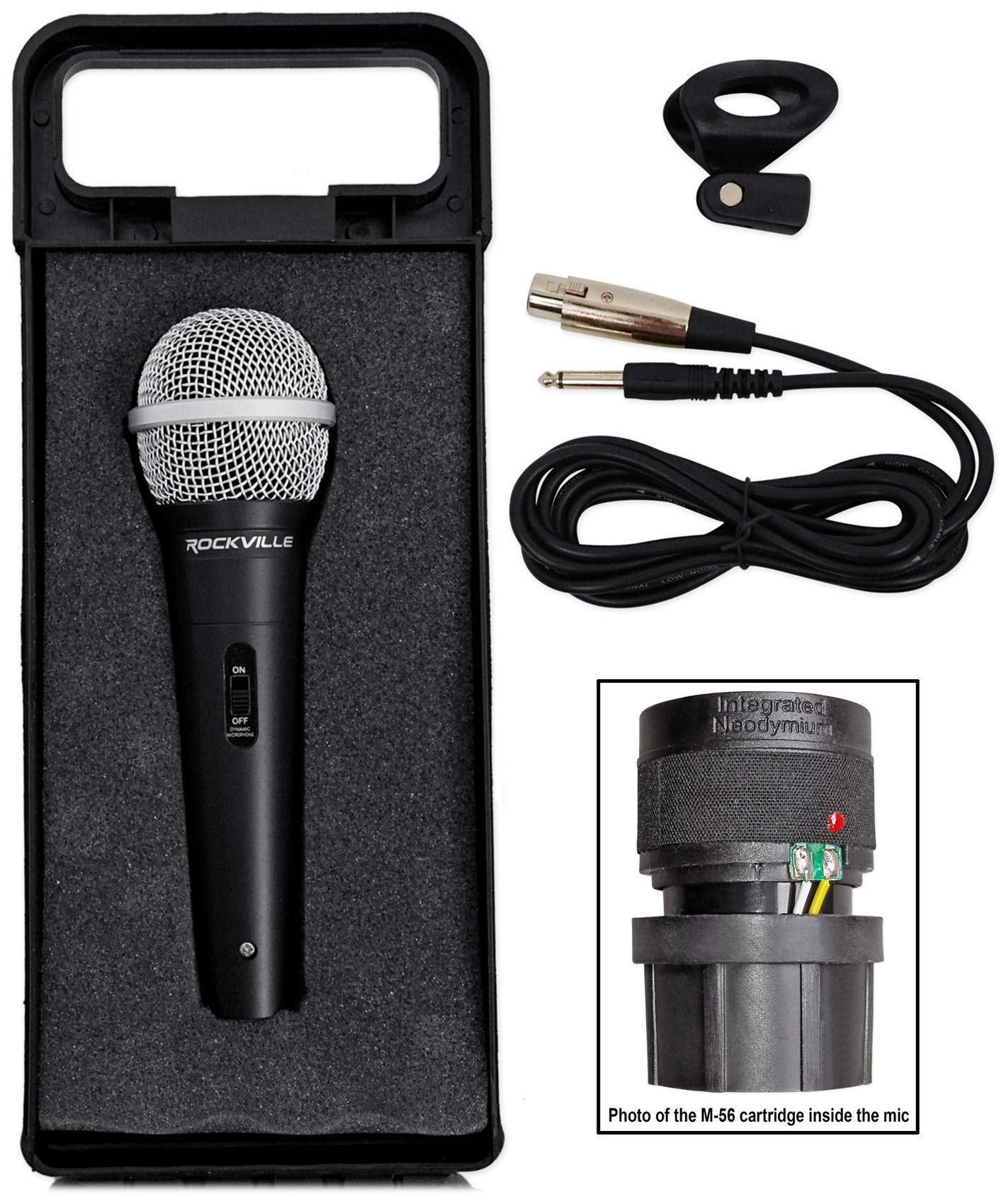 Rockville High-End Metal DJ Handheld Wired Microphone Mic w (2) Cables (RMC-XLR) by Rockville