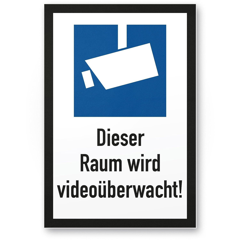 Este espacio se videoüberwacht DIN Símbolo Negro Marco (Formato Vertical pictograma)