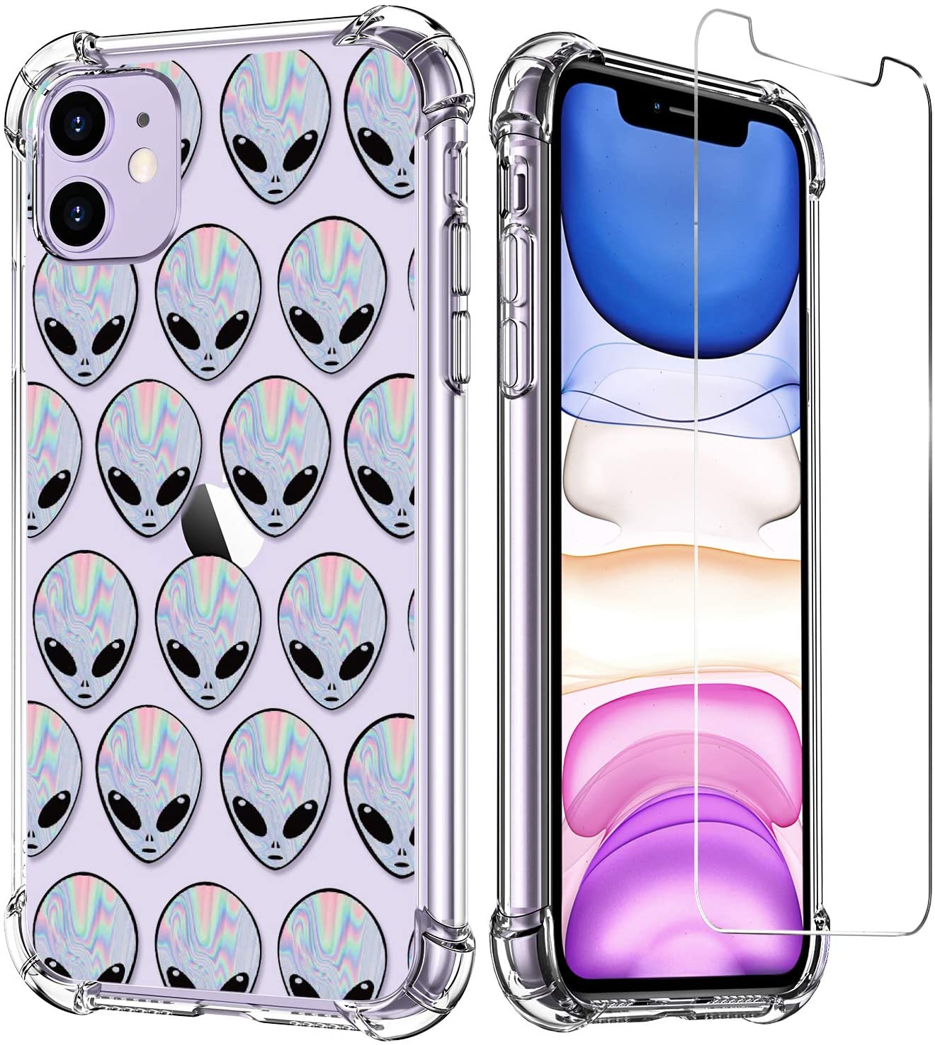 LUXVEER iPhone 11 Case with Tempered Glass Screen Protector,Aliens on Soft TPU Bumper Cover for Grils Women,Shockproof Slim Fit Protective Phone Case for Apple iPhone 11 6.1 inch