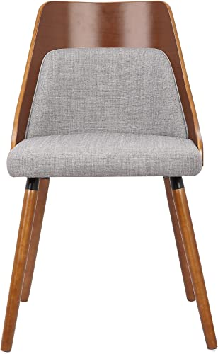 Container Furniture Direct Porter Collection Mid Century Wood and Fabric Upholstered Dining Chair