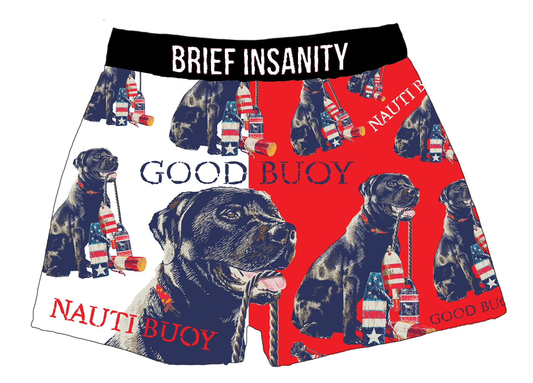 Brief Insanity Good Buoy American Fido Dog Lovers Silky Funny Boxer Shorts Gifts for Men