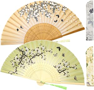 Zolee 2 Pieces Small Folding Hand Fans - Chinese Japanese Vintage Bamboo Silk Fans - for Dance, Performance, Decoration, Wedding, Party,Gift (0306)