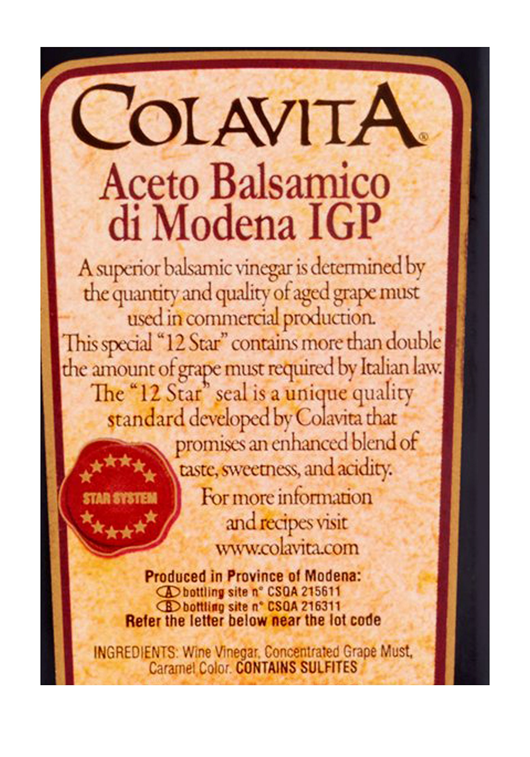 "Colavita Balsamic Vinegar of Modena, 34 Ounce (Pack of 2) 4 Contains Two Bottles of Colavita Balsamic Vinegar of Modena, 34 Ounce Each This special ""12 Star"" balsamic vinegar contains more than double the amount of grape must required by Italian Law. Product of Modena, Italy"