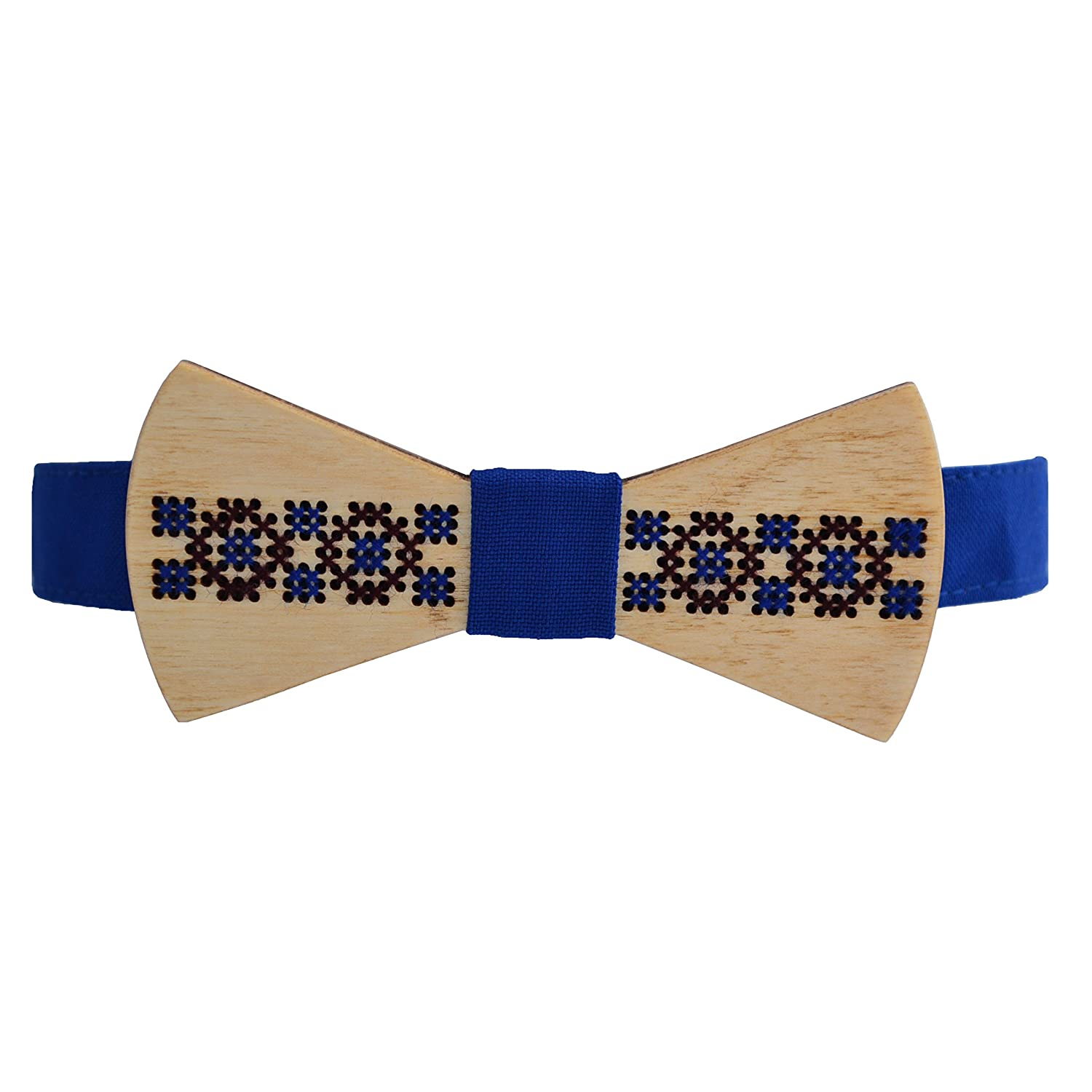 Unisex Embroidered blue and brown threads Wooden Bow Tie for Men