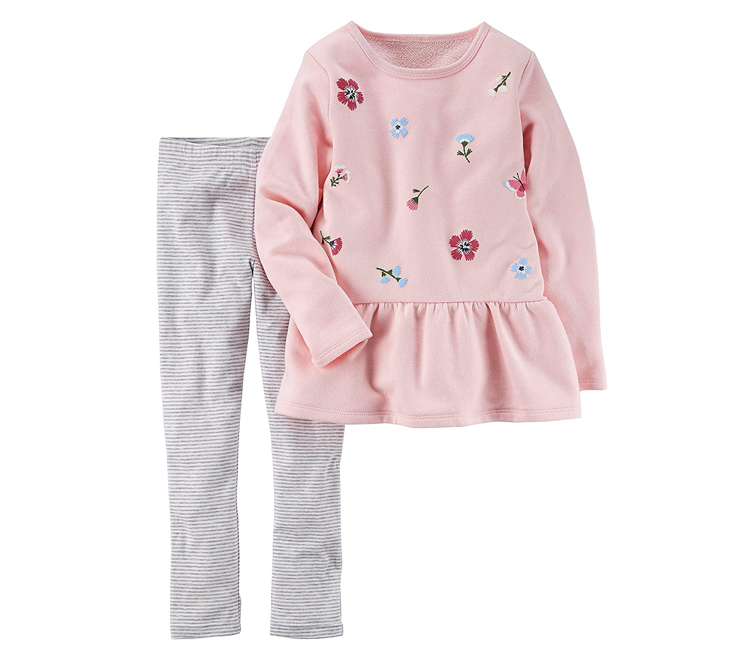 Carters Girls 4-8 2 Piece Embroidered Peplum Top and Leggings Set