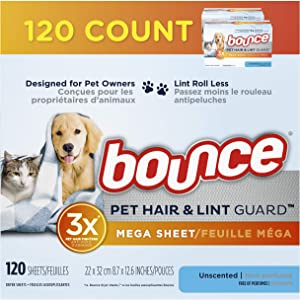 Bounce Pet Hair and Lint Guard Mega Dryer Sheets for Laundry, Fabric Softener with 3X Pet Hair Fighters, Unscented, Hypoallergenic, 120 Count