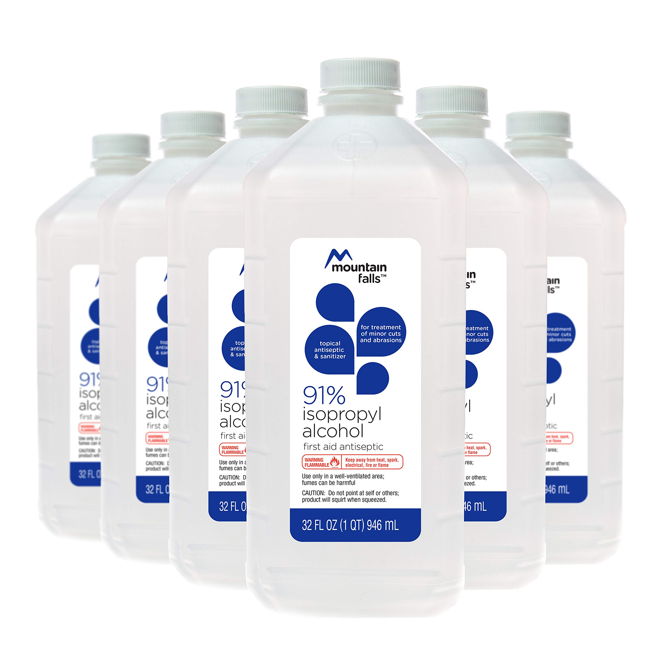 Mountain Falls 91% Isopropyl Alcohol First Aid Antiseptic for Treatment of Minor Cuts and Scrapes, 32 Fluid Ounce (Pack of 6)