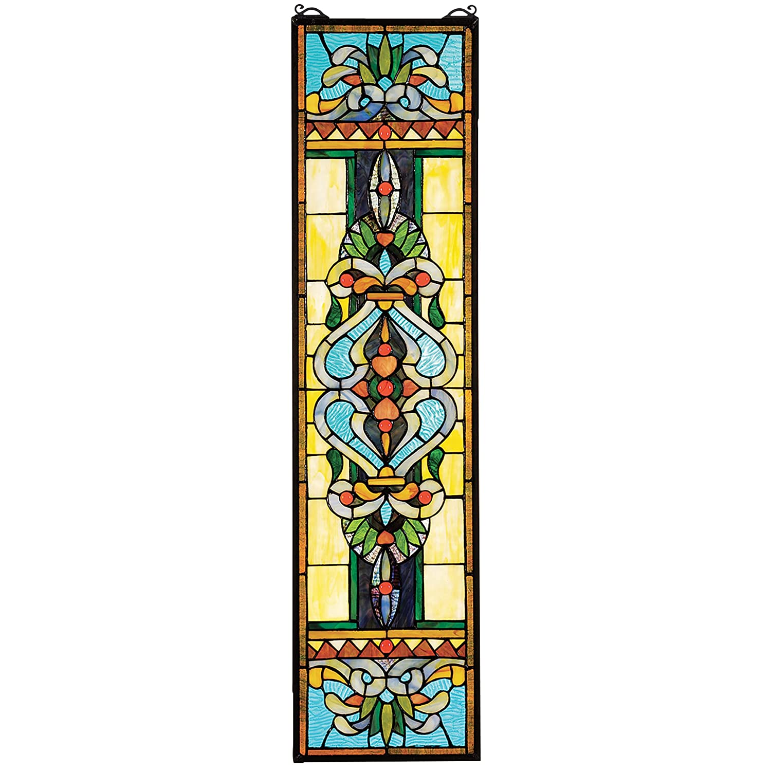 Design Toscano Blackstone Hall Stained Glass Window Hanging Panel, 35 Inch, Stained Glass, Full Color