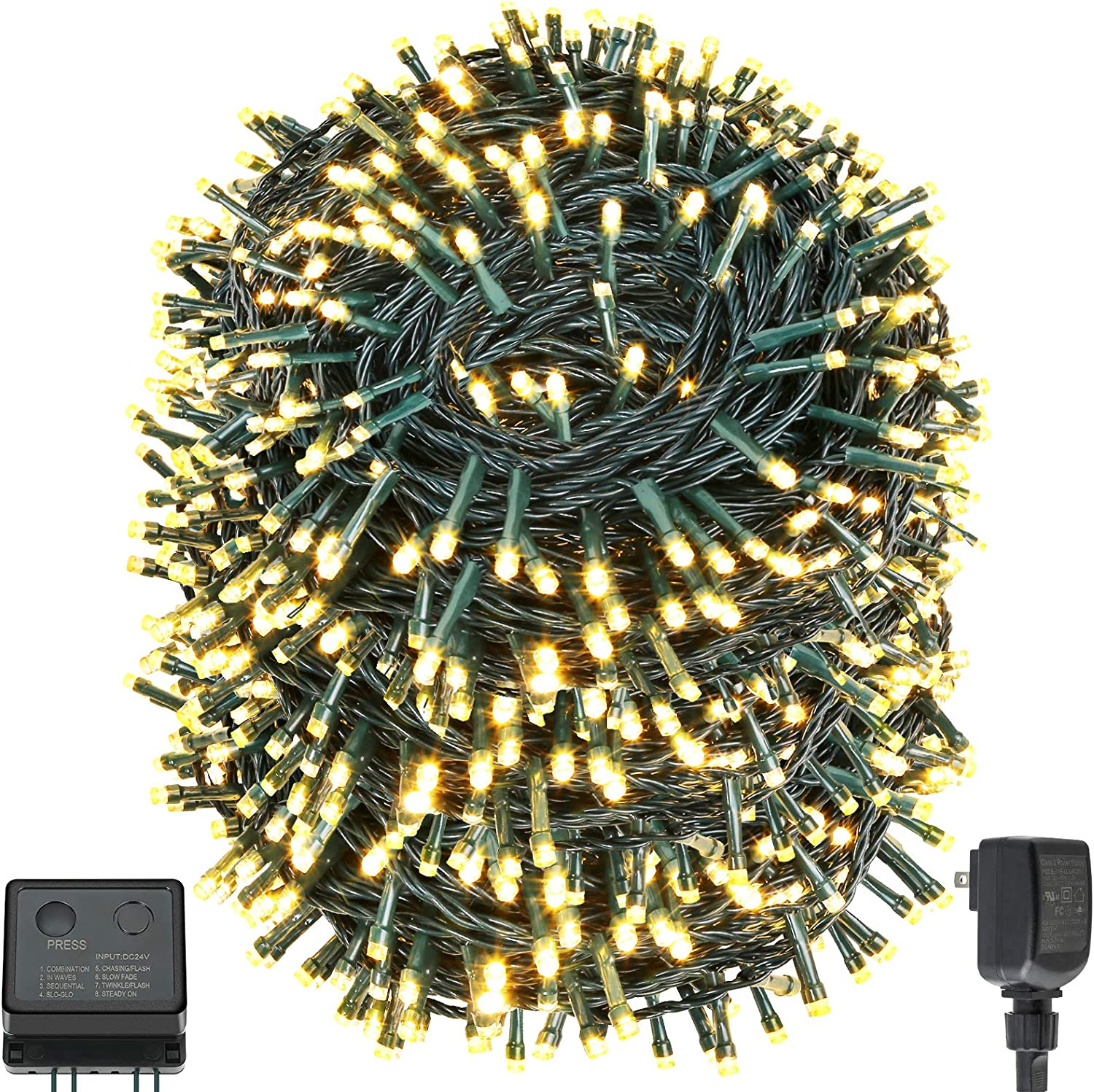 QUWIN Led Outdoor Christmas String Lights, 279Ft 800 LED UL Certified 8 Lighting Modes, Indoor & Outside Waterproof Fairy Light for Christmas Tree, Patio, Wedding, Party (279 Ft Warm-White)
