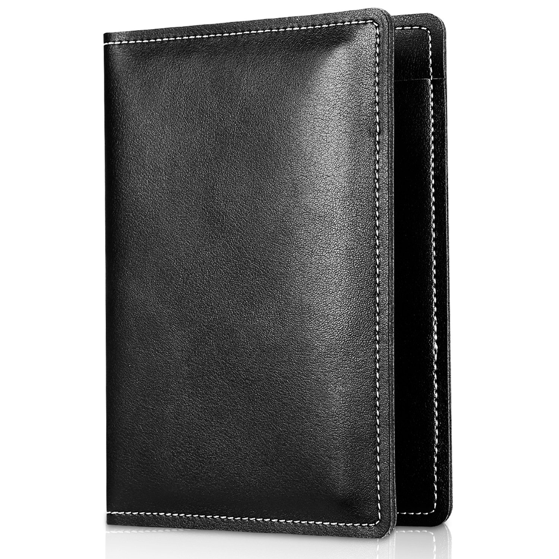 Echtes Leder Passport Abdeckung Halter, ProCase Premium Quality Passport Case Reisetasche für Pass, Karten und Bargeld -Schwarz PC-08360616