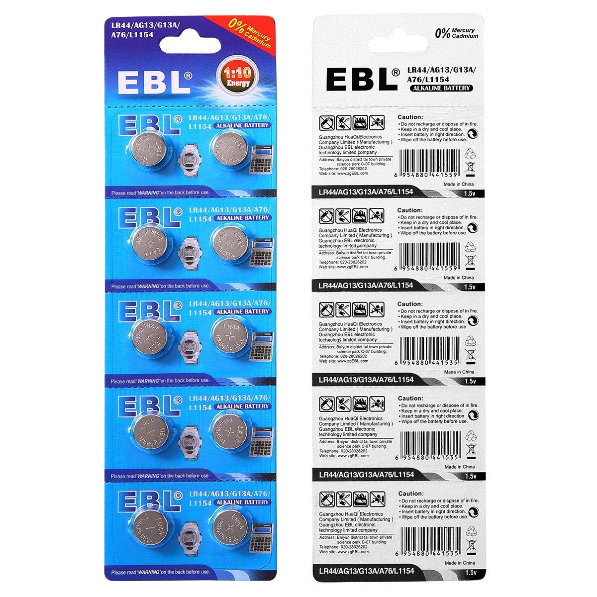 EBL 20 Stück LR44 AG13 G13A A76 L1154 357A Alkaline Knopfzelle Batterien