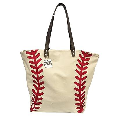 f2dbe53c97 durable service Sports Canvas Tote Bag Handbag Large Oversized Sports 20 x  17 Inches BASEBALL SOFTBALL