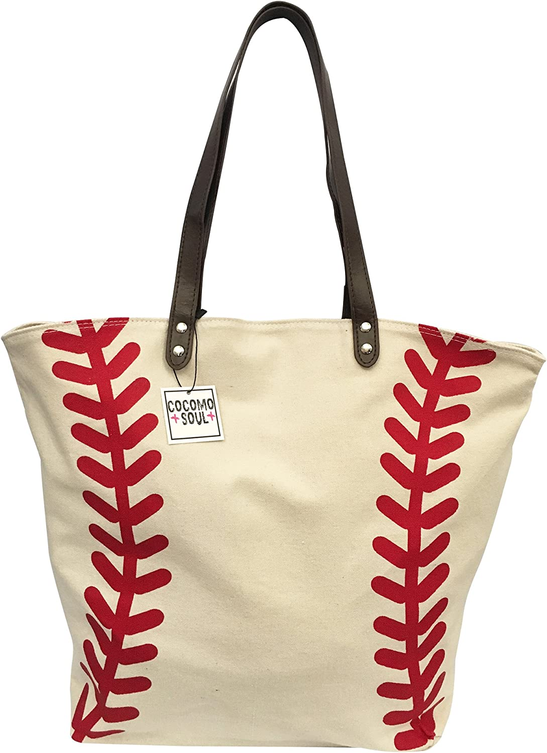 Baseball Canvas Tote Bag Handbag Large Oversize Shopping Bag Travel Bag Baseball Purse Sports Bag 20 x 17 Inches Cocomo Soul