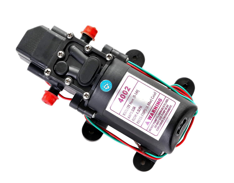 Spires 12V DC Fresh Water Pump with 2 Hose Clamps 12 Volt Diaphragm Pump Self Priming Sprayer Pump with Pressure Switch 4.5 L/Min 1.2 GPM 110 PSI Adjustable for RV Camper Marine Boat Lawn Spirse