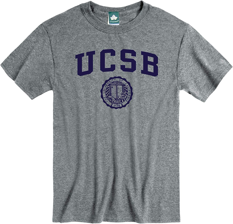 NCAA Colleges Grey Cotton Poly Blend Ivysport Short Sleeve T-Shirt Heritage Logo