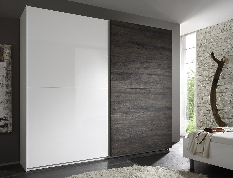 Matelpro design-Armario de 2 puertas abatibles, color blanco lacado y wengé Ténérif-Armario 240 cm: Amazon.es: Hogar