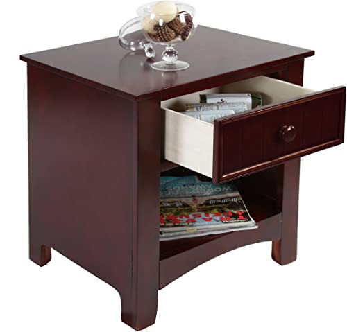 Furniture of America Max 1-Drawer Nightstand, Cherry
