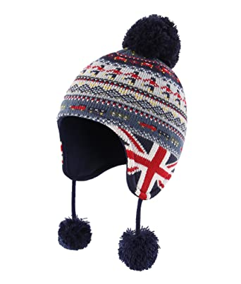Home Prefer Infant Baby Boys Winter Hat with Earflaps Kids Knitted Hat  Fleece Lined Warm Peruvian 74c67385629