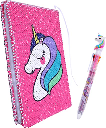 Chaungdi 2 Pieces Sequin Reversible Notebook Flip Journal Notebook with Unicorn Pattern and Unicorn Pen (Pink)