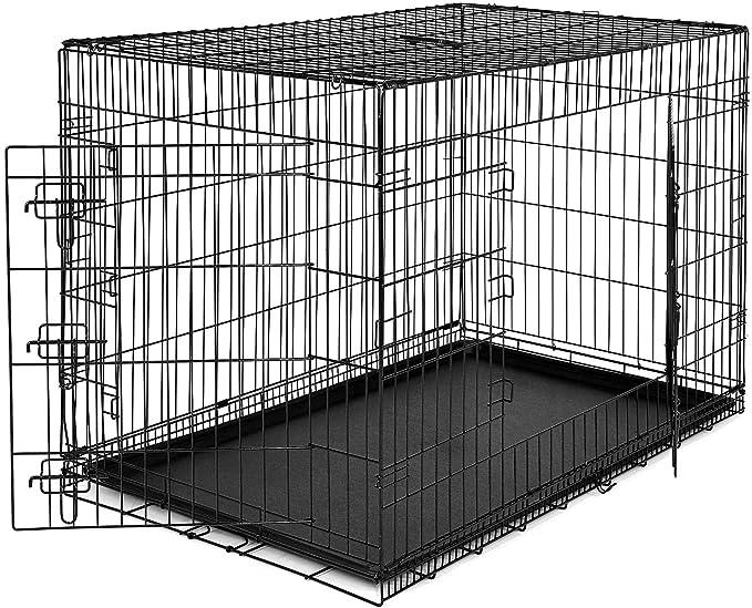 Dibea DC00494, Jaula Plegable de Metal para Perro, Gato y Mascota (2 Puertas), 106 x 71 x 71 cm