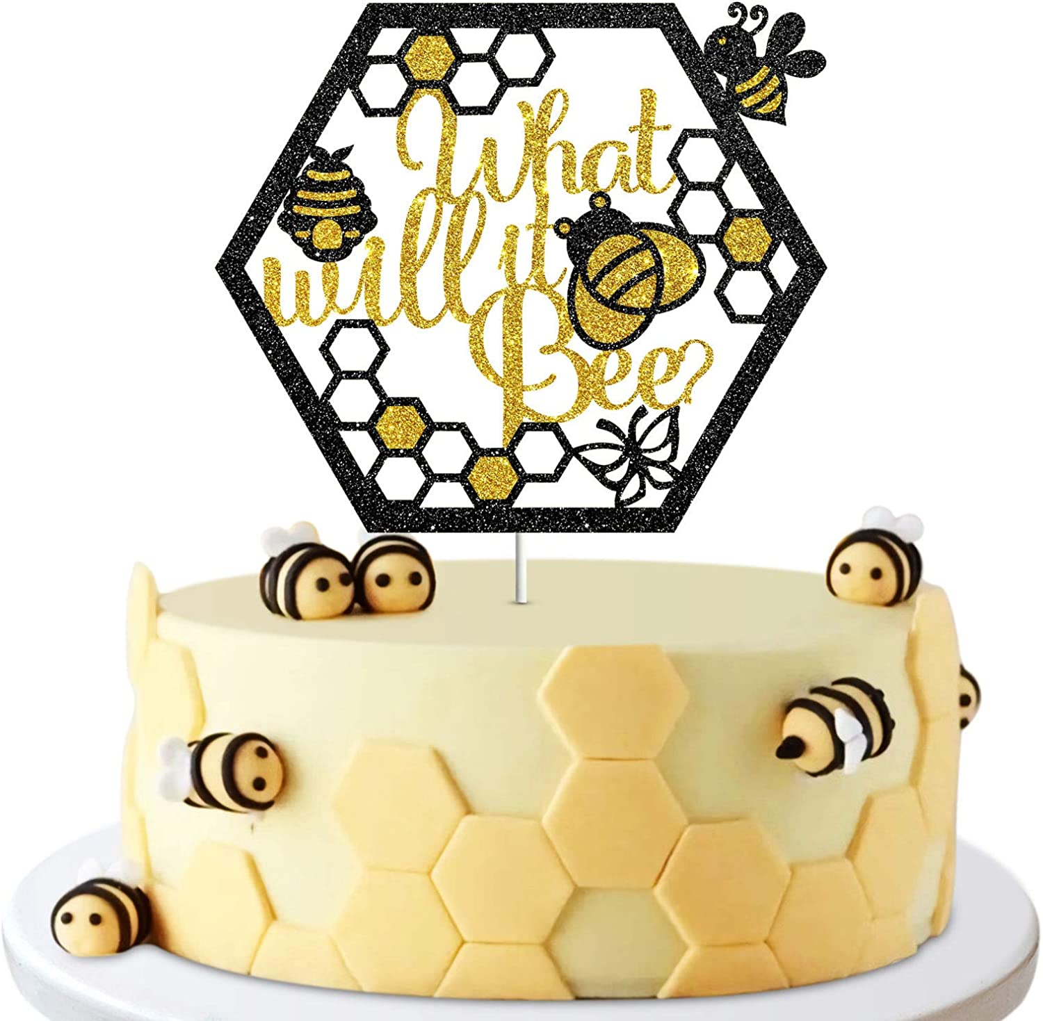What Will it Bee Cake Topper, Baby Shower, Gender Reveal, Bumble Bee Themed Party Decor Decoration Supplies Photo Booth Props
