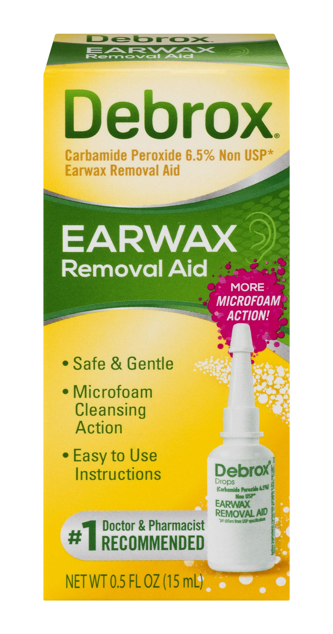 Debrox Earwax Removal Aid Drops | 0.5 oz | Removes Earwax and Cleanses Ear