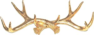 Near and Deer Faux Antler Rack Wall Hook & Jewelry Organizer, Gold