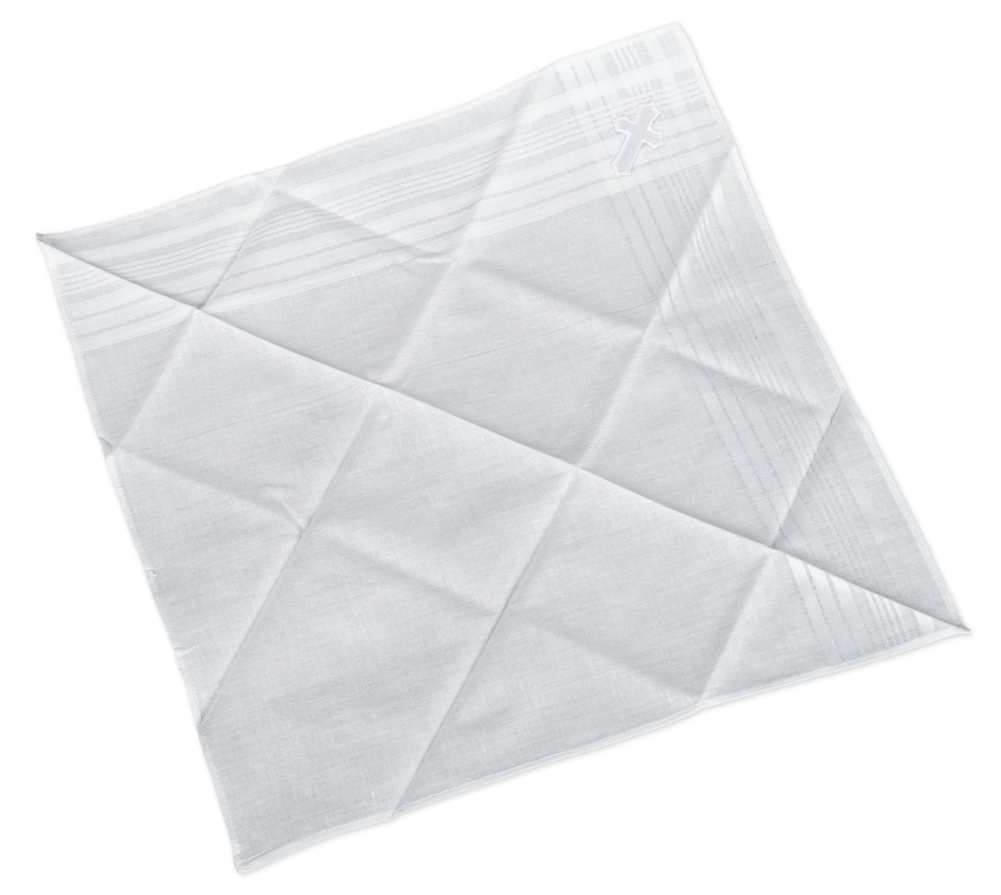 First Communion Boy's White Tie and Hanky Set with Cross - Edged Cross by Simply Charming (Image #3)