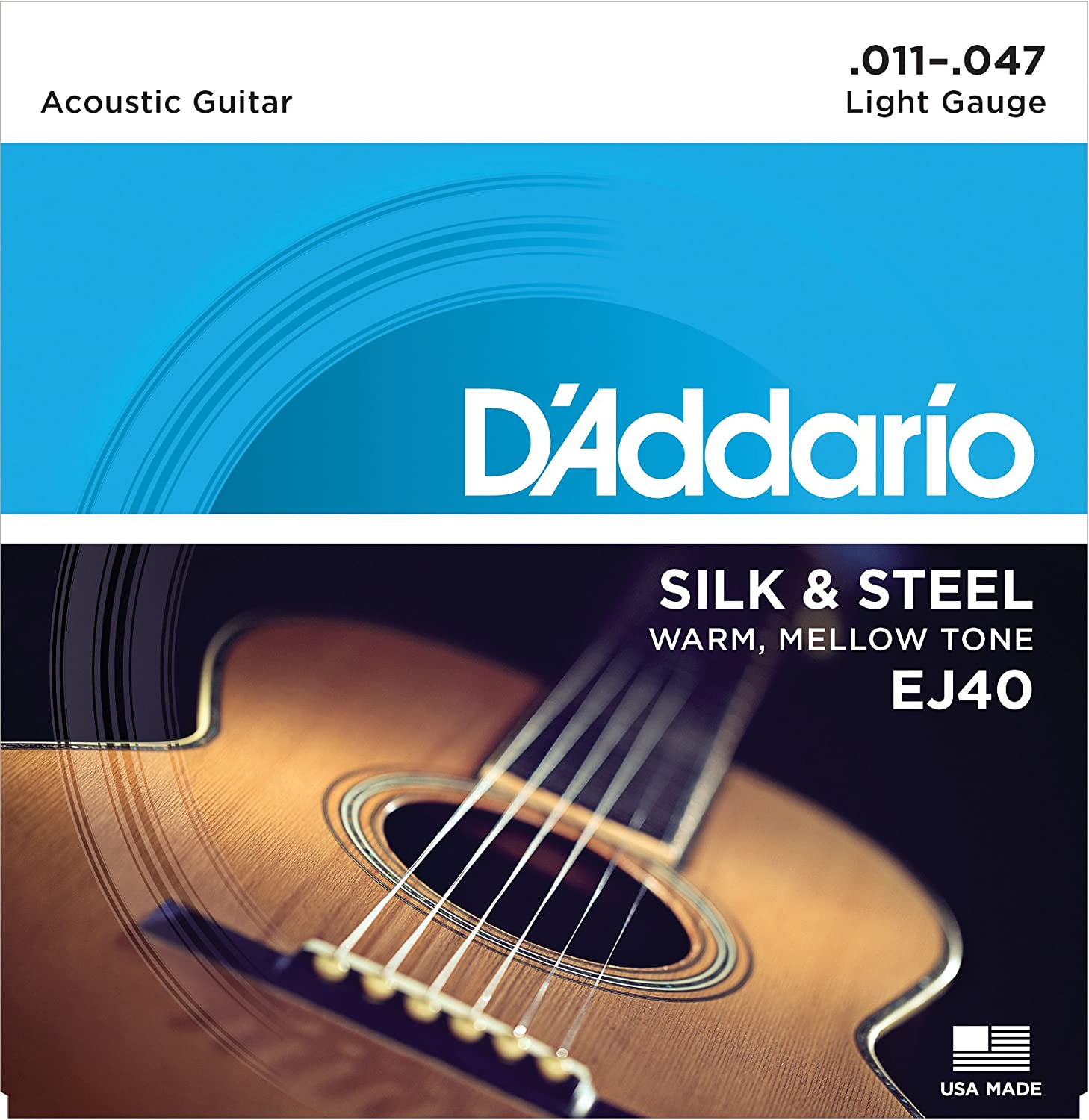 d addario ej40 silk steel folk guitar strings 11 47