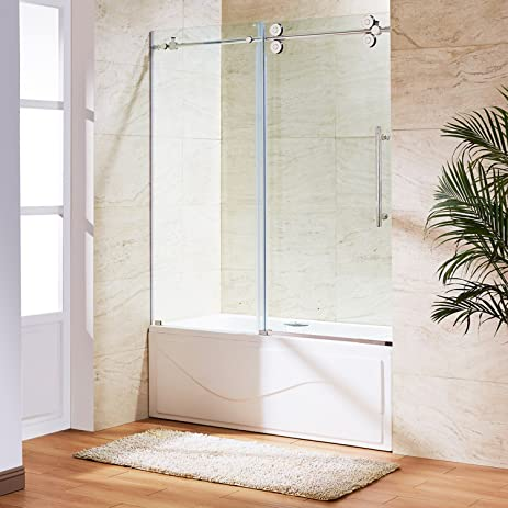 VIGO Elan 56 to 60-in. Frameless Sliding Tub Door with .375-in ...