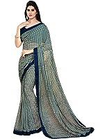 Nirjas Designer Chiffon Saree With Blouse Piece (Blue Goli_A_A Blue_Free Size)