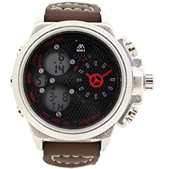 614d5d8c5544 MABZ Men s Dual Time Dark Brown Leather Strap Watch Analog Digital Quartz  Buckle Clasp Day