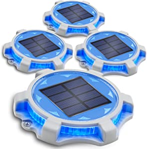 Siedinlar Solar Deck Lights Outdoor 2 Modes LED Driveway Markers Dock Light Solar Powered Waterproof for Step Walkway Ground Stair Pathway Yard Road Garden 4 Pack (Blue/Red)